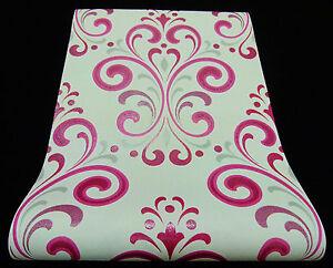 """13308-10-7) tessuto non tessuto di alta qualità Carta da parati """"Ornament"""" Carta da parati design moderno rosa  </span>"""