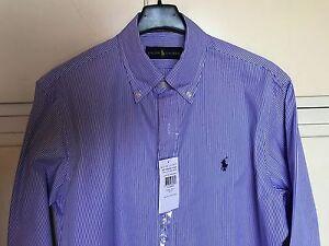 Camicia-uomo-POLO-RALPH-LAUREN-rigata-bianco-blu-button-down-tg-S-custom-fit