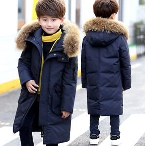 f5d1757e2 Kids Boys Fur Hooded Coat Down Quilted Jacket Outwear Winter Padded ...