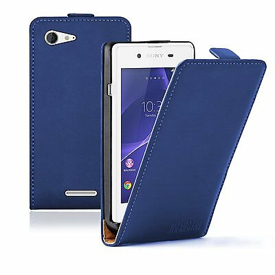 Ultra Slim BLUE Leather Case Cover Pouch Saver For Sony Xperia E3 experia Dual
