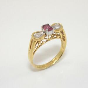 14K-Yellow-Gold-Ring-Natural-Pink-Ruby-Diamond-Size-6-1-2