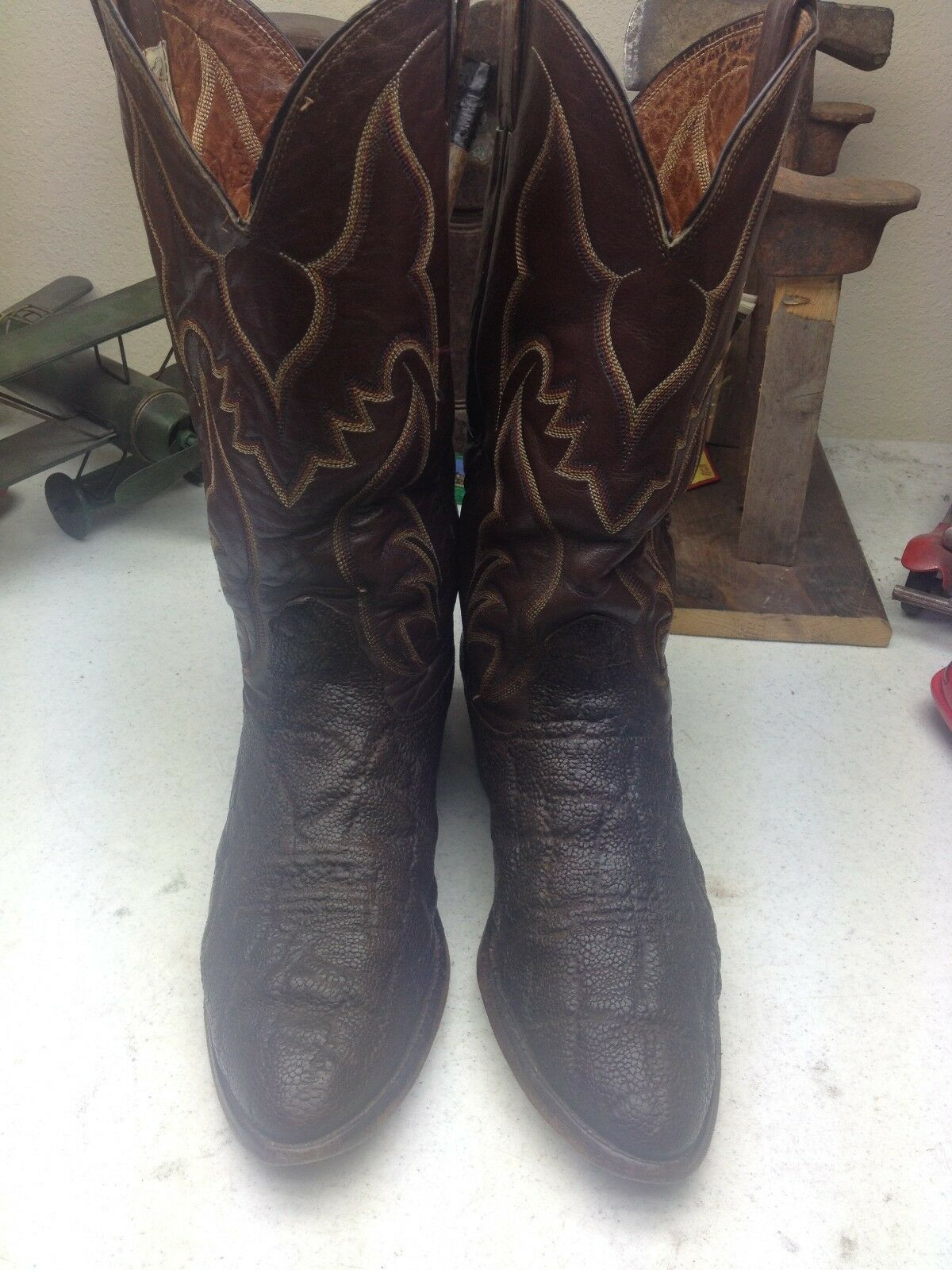 VINTAGE DISTRESSED NOCONA TRAIL  A BROWN LEATHER WESTERN TRAIL NOCONA BOSS WORK BOOTS 9 D 57693e