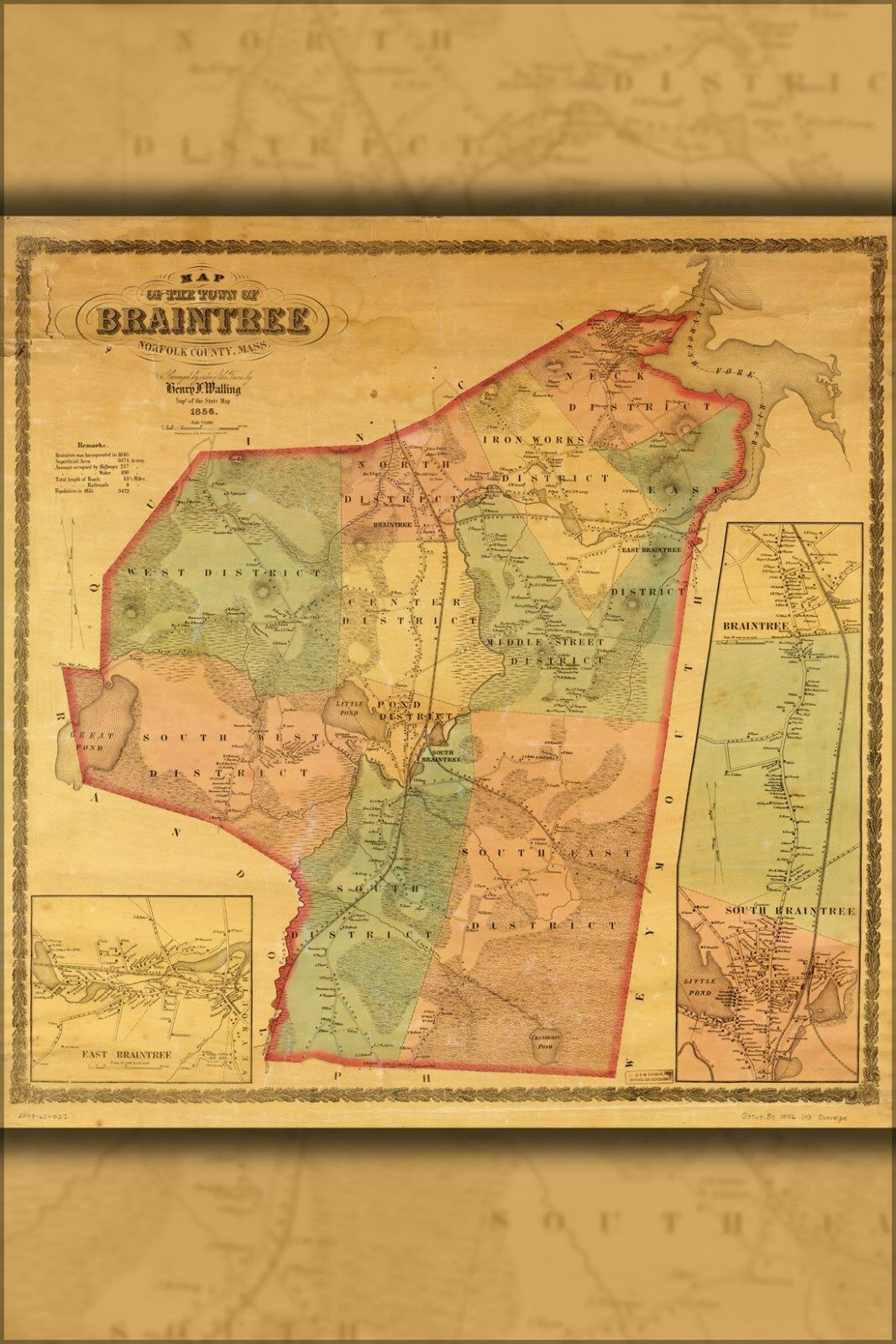 Plakat, Viele Größen; Karte von Braintree, Norfolk Co, Massachusetts 1856