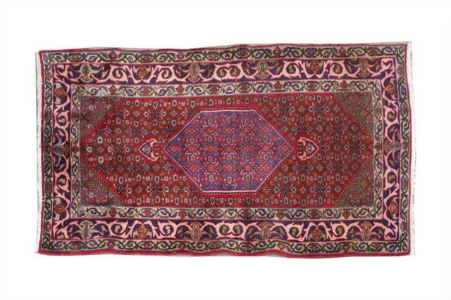 Antique Hand Knotted Turkish Vintage Geometric Oriental Red Wool Area Rug