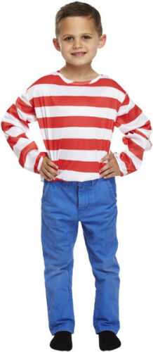 BOYS GIRLS RED AND WHITE STRIPED TOP FANCY DRESS COSTUME BOOK DAY OUTFIT
