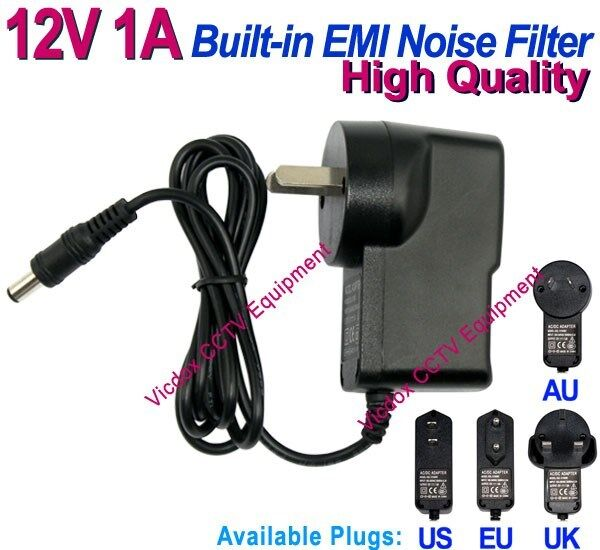 DC 12V 1A Power Supply Adapter EMI Noise Filter Low Ripple CCTV Security Camera