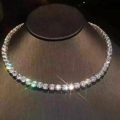 "Round Cut VVS1//D Diamond 30 Ct Tennis Necklace 16/"" Solid 14K White Gold Finish"