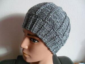 Knitting pattern - Quick   easy Mens size aran weight beanie hat 2 ... 59c2ec16d99