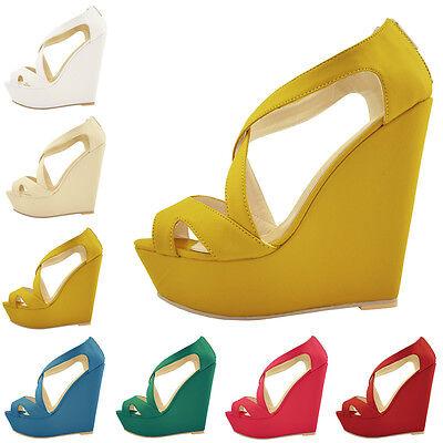 Faux Leather PU Platform Peep Toe High Heels Wedge Shoes Sandals Size UK 2-9 New