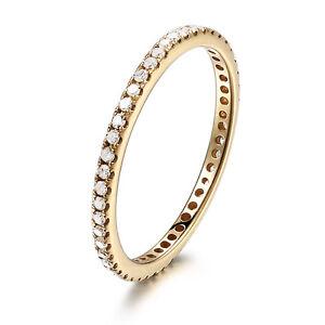 14k yellow gold pave diamonds engagement wedding eternity