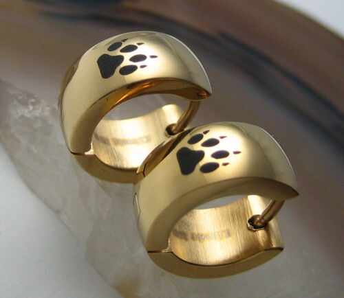 Kikuchi Ohrringe gold glatt Männer Damen Edelstahl Creolen Wolf Fußspur schwarz