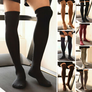 Mens-Knee-High-Stockings-Cotton-Warm-Thigh-Sports-Football-Running-Long-Socks