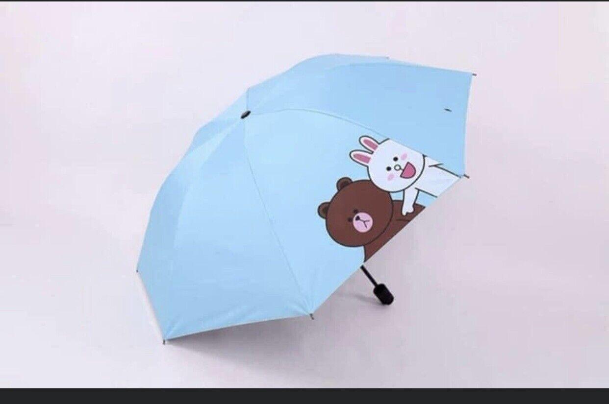 Line Friends Brown Bear UV Blocking Sunny Rainy Portable Umbrella- US Seller