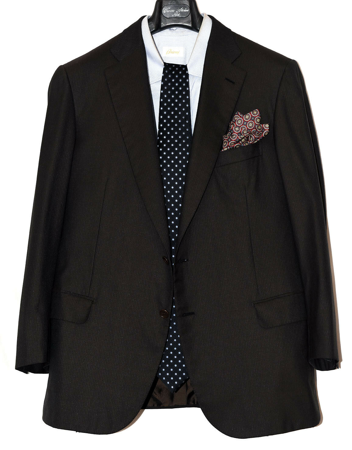 7250 Brioni dark Braun wool silk suit EU 54 / US 44 flat front / functional