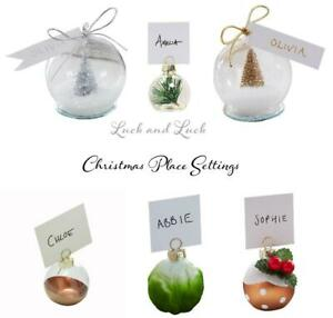 Ginger Ray Christmas Pudding Christmas Bauble Name Place Card Holders 6 Pack Let It Snow
