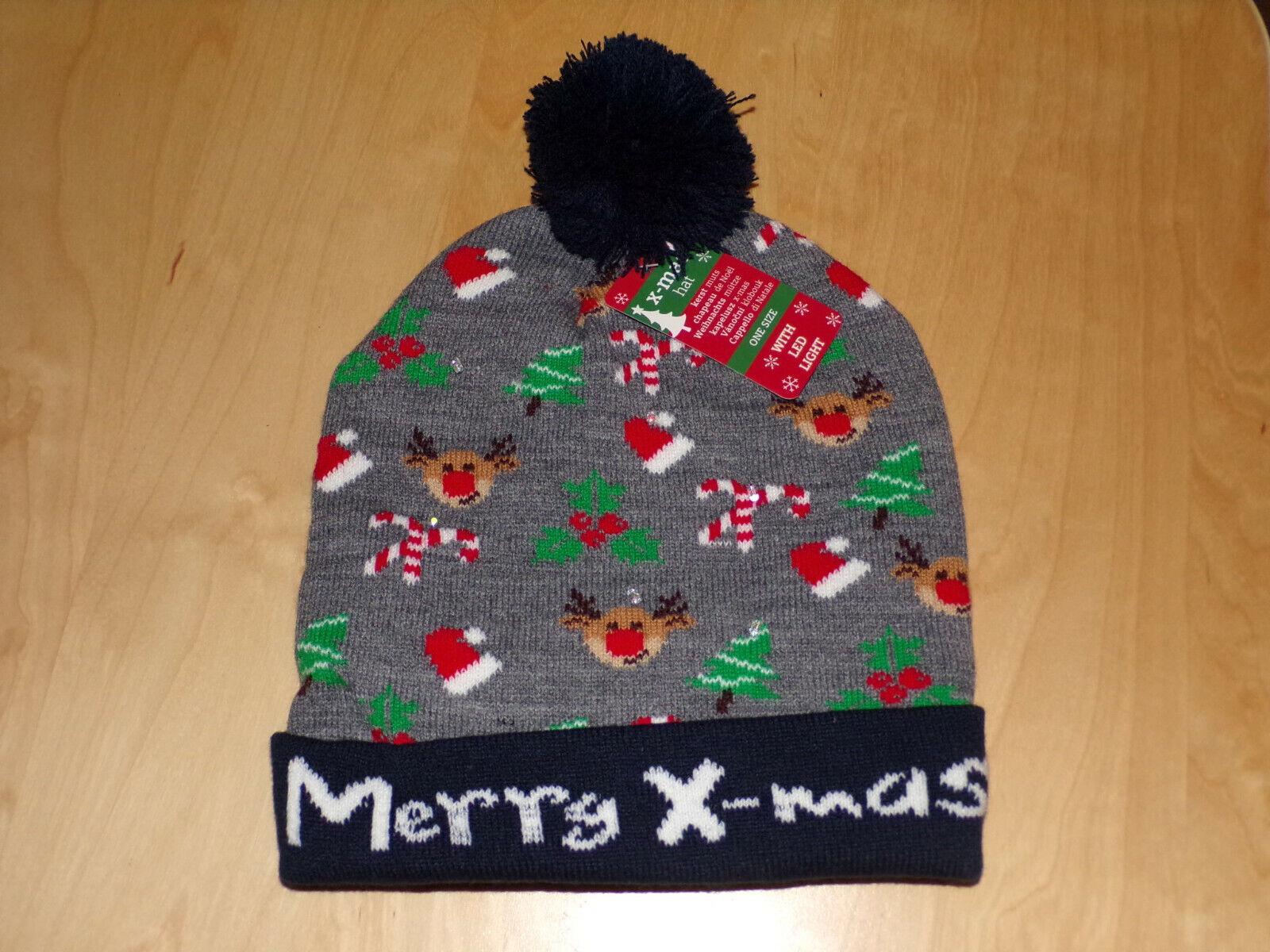 6 LED Christmas Winter Hat Grey Beanie Illuminated Merry Xmas Ladies Mens