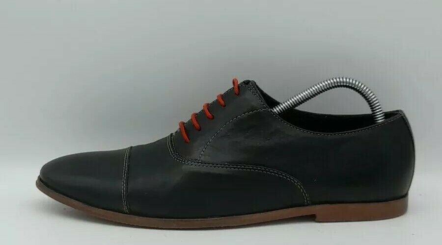 Mens HUSH PUPPIES Size 7 UK 42 EU Black Leather Casual Shoes Red Laced In E U C