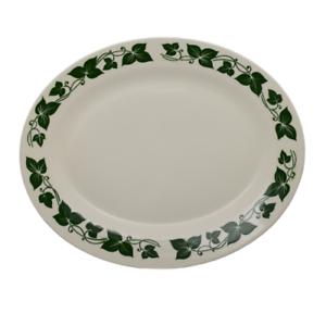 """Vintage Homer Laughlin Serving Platter HLC258  Dark Green Leaves and Vines 13.5"""""""