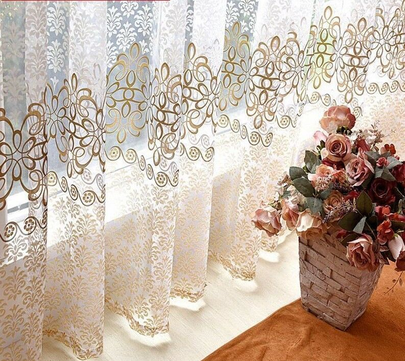 Window Curtains Room Decoration Tulle Sheer Floral Pattern Classic Quality Decor