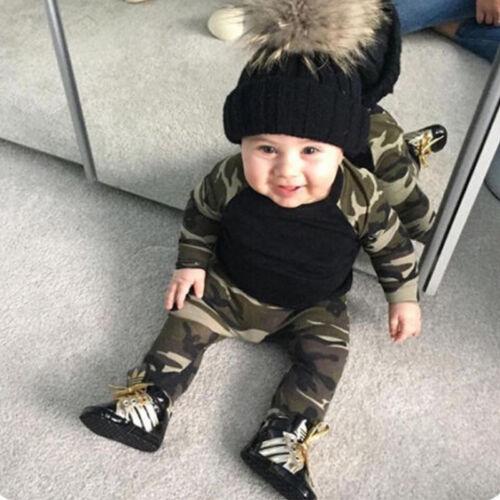 Kinder Jungen Kleidung Camouflage Outfits Langarm T-Shirt Oberteil /& Hosen Sets