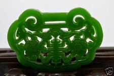 China Finely crafted Sided hollow Green jade Amulet Pendant Necklace 五福拜寿Bat