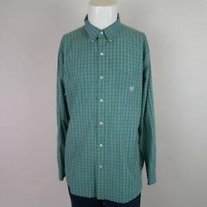Chaps-Green-Long-Sleeve-Button-Front-Cotton-Blend-Checked-Casual-Shirt-Mens-2XL