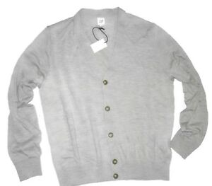 Details about Gap men's Grey extra fine Merino wool cardigan Sweater size XL