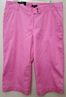 Steve & Barrys - Pink Wide Leg Tab Front Stretch Capri Pants - Size 4 -