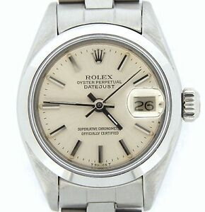 Rolex-Datejust-Ladies-Stainless-Steel-Watch-Oyster-Bracelet-Silver-Dial-6916
