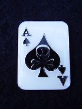 Ace Of Spades Poker Gambling Card Black+White Enamel Bikers Jacket Pin Badge New