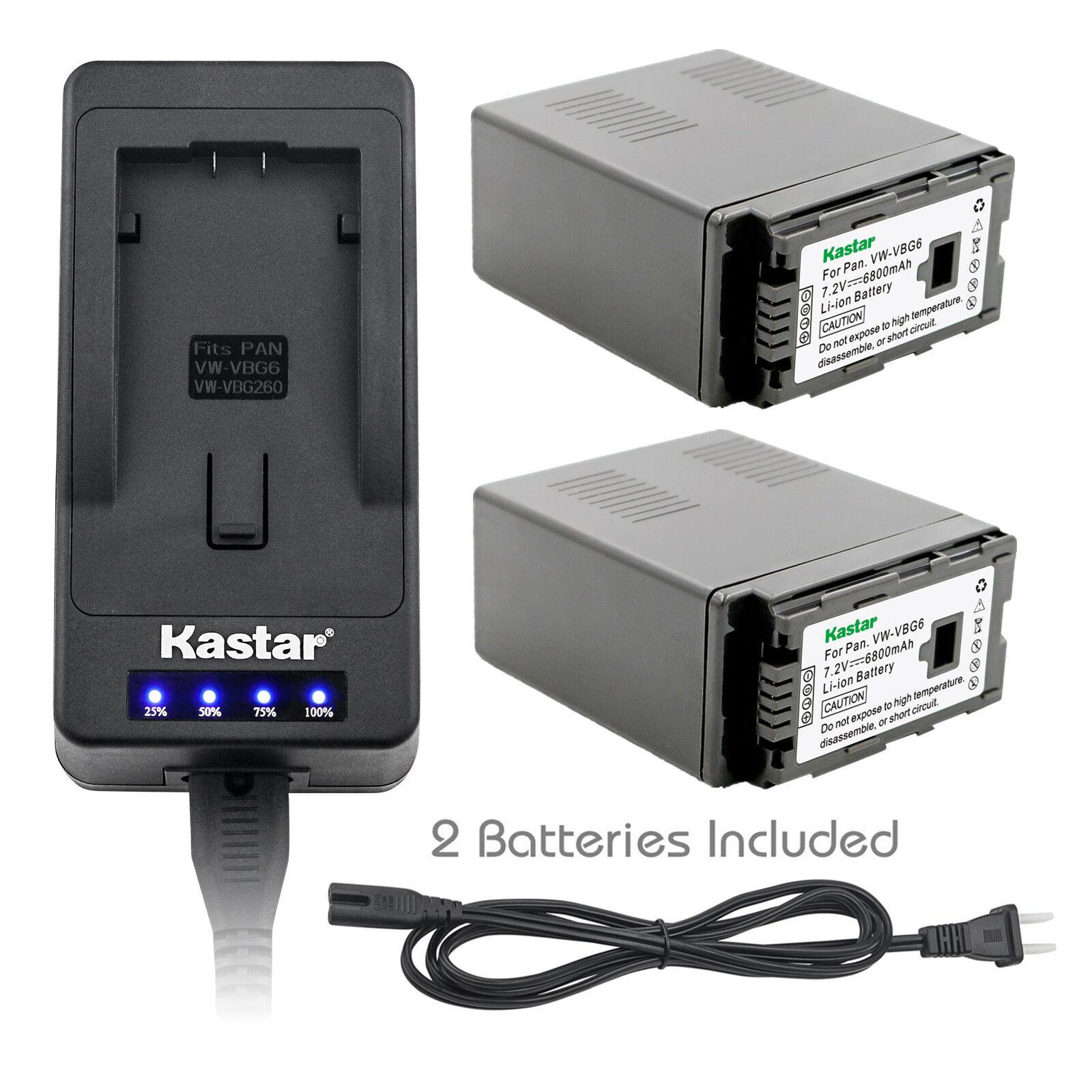 Kastar Batería Cargador rápido estupendo para Panasonic VW-VBG6 y AG-HMR10 AG-HMC40