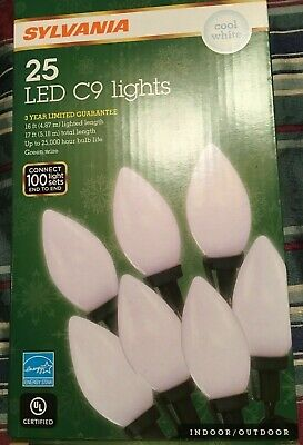 Philips 25 Count LED C9 String Lights Cool White Indoor Outdoor wedding NEW