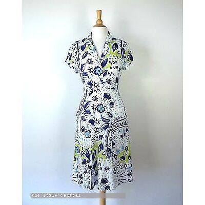 SPORTSCRAFT [ Size 12 ] White, Lime & Navy print Cap Sleeve Summer Dress