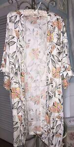 NEW Plus Size 1X White Floral Open Kimono Cardigan Jacket Duster Topper