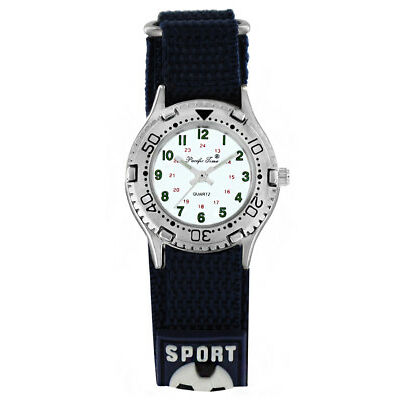 Neu Kinderuhr Fußball blau Klettarmband Klettuhr Sportuhr Kinder Armbanduhr top