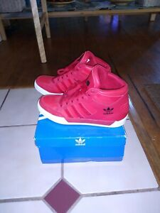 Details about Adidas Youth Hard Court Attitude Hi Big Logo High Tops Red Black White Size 5.5