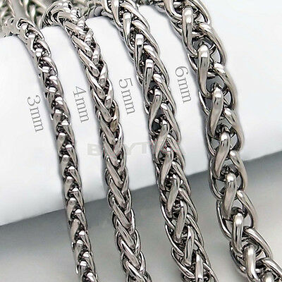 "FAD 3/4/5/6MM 20"" MENS Silver Stainless Steel Wheat Braided Chain Necklace AUCB"