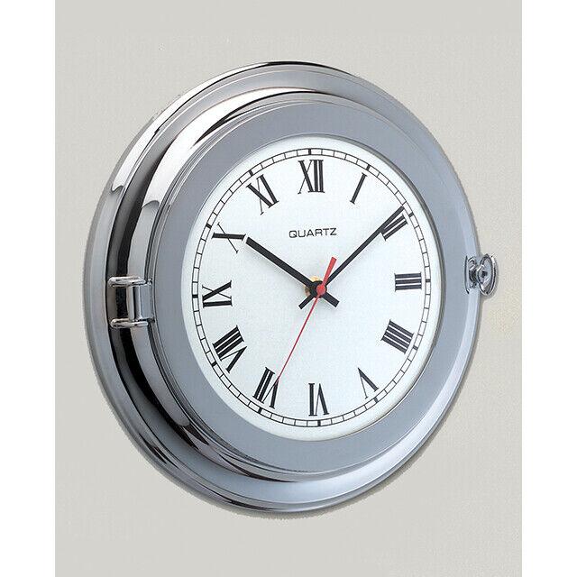 Uhr mit Truhe Groß aus Messing Chrom Silber Ø 260 X Ø 180 mm Brand For