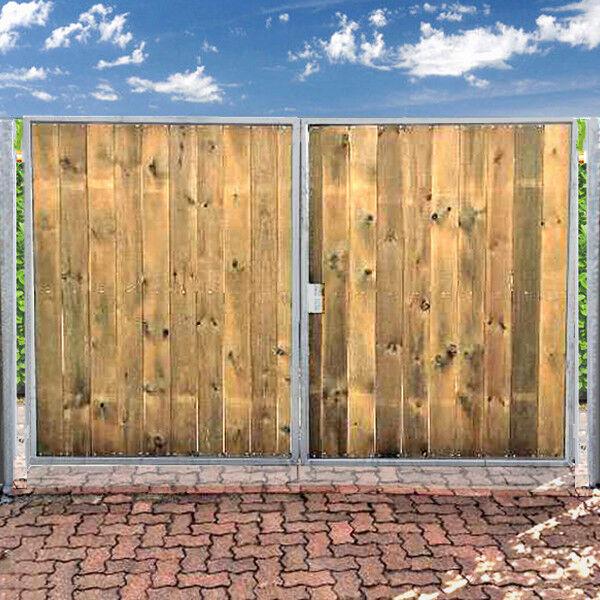 Einfahrtstor 400x160 cm  Verzinkt + Holz Tor 2-flügelig Holztor Gartentor ANNA