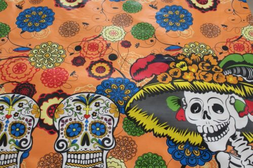 """/""""Day of the Dead/"""" Skeletons Mexican Multicolored Oilcloth PVC Tablecloth Orange"""