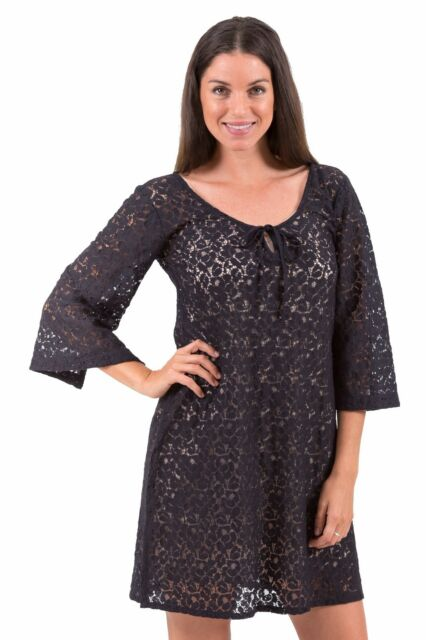 New Aloha Cotton Lace Chic Dress or Tunic – Black XS – 3XL