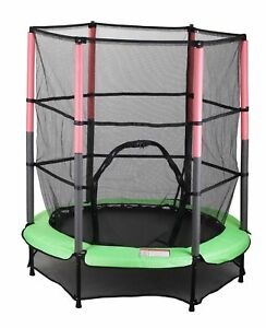 kinder trampolin indoor outdoor garten 140cm mit sicherheitsnetz gr n ebay. Black Bedroom Furniture Sets. Home Design Ideas