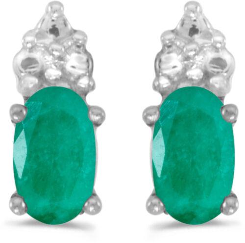CM-E1781XW-05 14k White Gold Oval Emerald Earrings