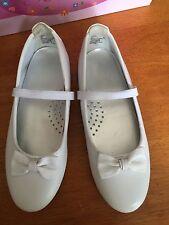 Girls Size 1 White Flat Leather Shoes Balleto Communion Wedding Easter Spring