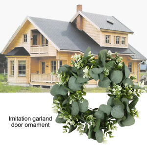 Wreath Artificial Green Eucalyptus Leaves Holiday Festival Door Hanging ONY
