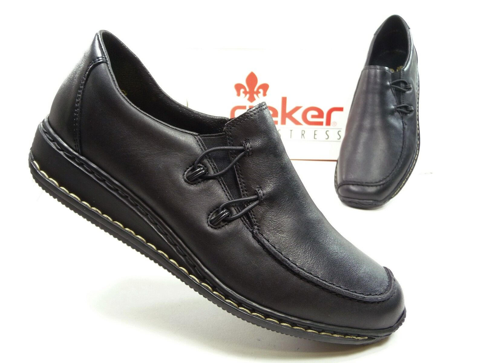 Rieker Damen Schuhe Halbschuhe Slipper in Schwarz,  Art.Nr. 44361-00