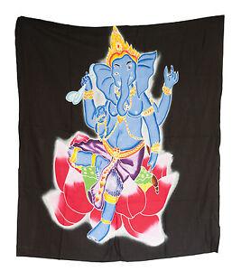Batik Ganesh Dieu Indù Testa Elefante Appeso Cotone Fatto a Mano 107x96cm 6826 U