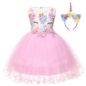 927b492c15a6 Unicorn Flower Girls Tutu Dress Kid Birthday Party Cosplay Costume ...