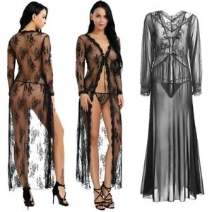 c3ad9e0d004 Sexy Women Sheer Long Sleeve Lace Robe Thong Dress Exotic Apparel ...