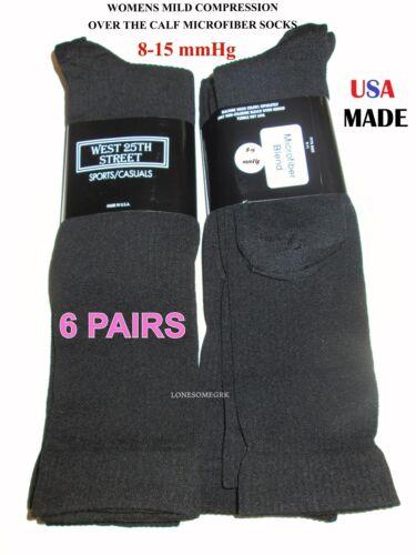 3 or 6 Pairs Womens Microfiber Blend 8-15 mmHg Knee High Mild COMPRESSION Socks